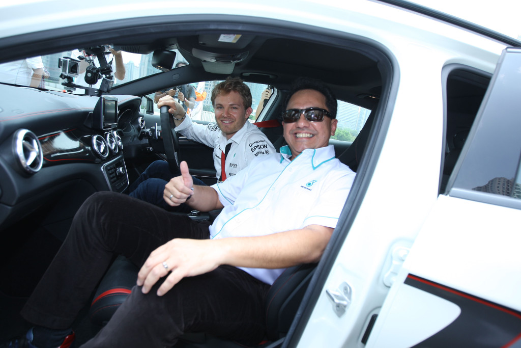 Datuk Wan Zulkiflee Wan Ariffin with Nico Rosberg during the Taxi Ride