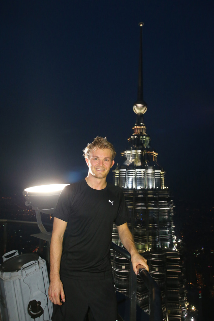 Nico Rosberg on the 84th floor of the PETRONAS Twin Towers