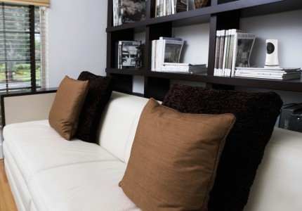 Cushions on a couch in a living room