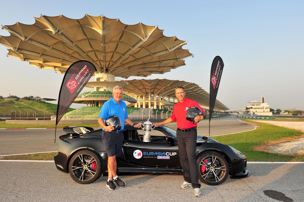KUALA LUMPUR-MALAYSIA- 12_01_2016 The EurAsia Cup presented by DRB-HICOM Team Captains Darren Clarke of Northern Ireland (Team Europe) and Jeev Milkha Singh of India (Team Asia) during a photoshoot at the Sepang International Circuit. They will battle for the EurAsia Cup trophy at the Glenmarie Golf and Country Club on Friday January 15-17, 2016. Picture by Khalid Redza/Asian Tour. .