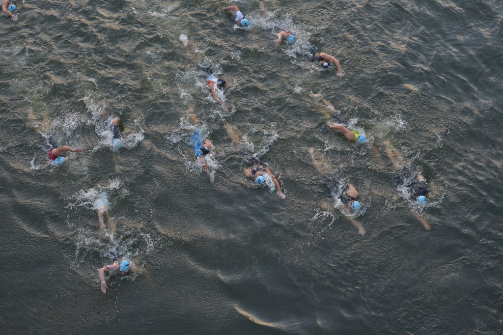 Pro Athletes on the swim route