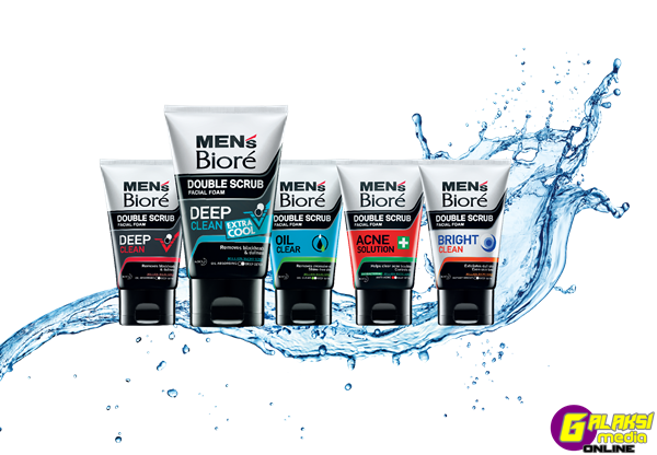 Men's Biore Double Scrub Group Shot with water splash