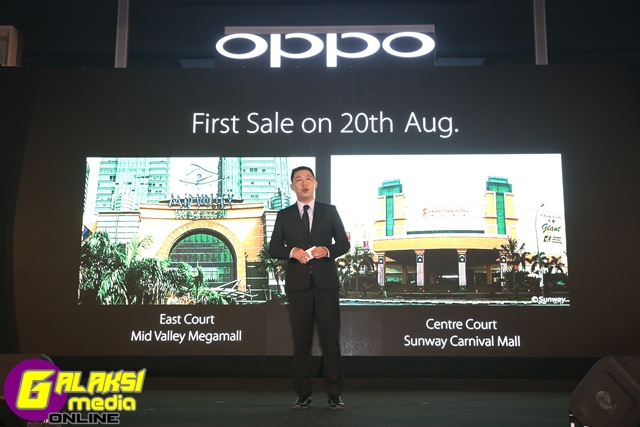 William Fang, CEO of OPPO Malaysia announced the first sale date on 20th August 2016
